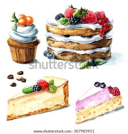 Hand painted watercolor desserts.