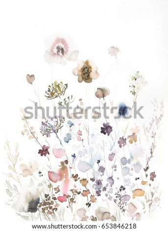 Hand painted watercolor flowers and plants from the bottom