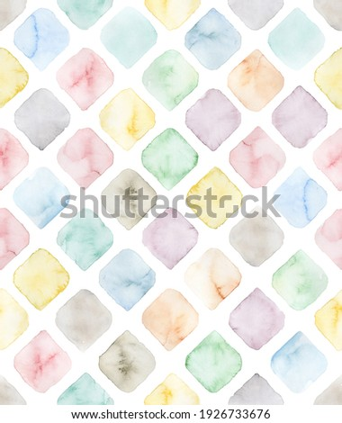Hand painted watercolor multicolored geometrical diamond shaped tile pattern in allover seamless repeat