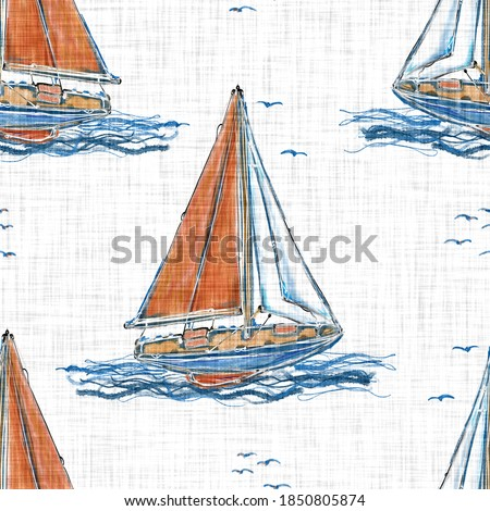 Hand painted watercolor  sail boat seamless background. Sailor blue red boat house on white linen pattern. Classic coastal living style textile design. Nautical maritime yachting repeat swatch