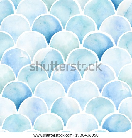 Hand painted watercolor scallop mermaid orient fish scale fractal semicircle leaf tile allover seamless pattern