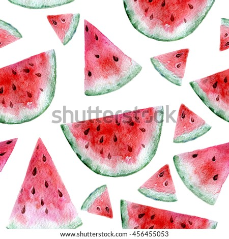 Hand painted watercolor seamless texture with watermelon slices isolated on white. Repeating summer fruit background. Bright and juicy. Fruits pattern - Shutterstock ID 456455053