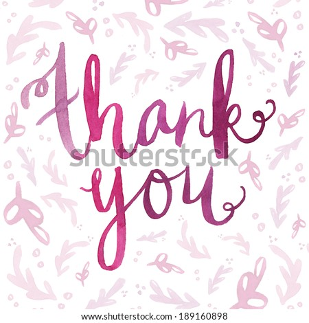 Hand Painted Watercolor Thank You Calligraphy Script on Background. Thank You Note. Thank You Background. Thank You Cursive. Cursive Thank You Script. Watercolor Lettering. Thank You Lettering.