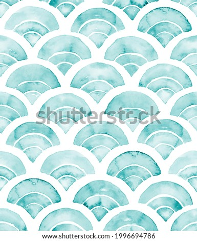 Hand painted watercolor turquoise blue monotonous cyanotype semicircle fractal fish scale allover seamless pattern similar to Japanese fan print Foto stock ©