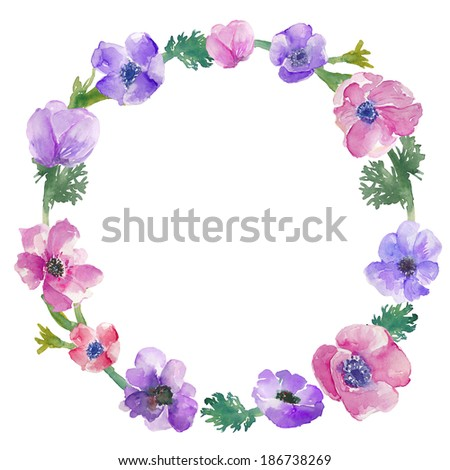 Hand Painted Watercolor Wreath Flowers. Watercolor Anemone Wreath. Floral Wreath. Hand Painted Wreath