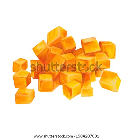 Hand painted watercolor yellow pumpkin pieces isolated on white background