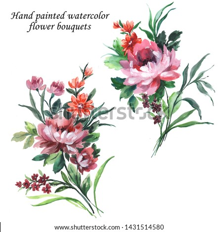 hand painted with gouache floral bouquets set with chrysanthemum flowers, wild flowers and green leaves. Artistic botanical summer isolated compilation.