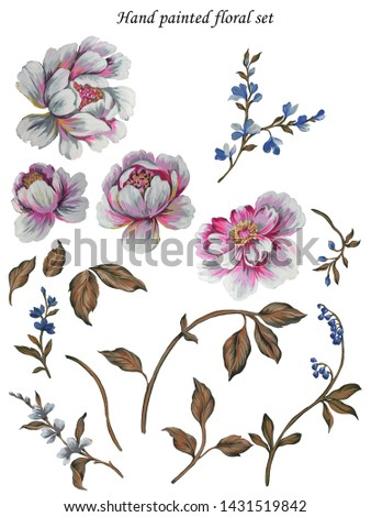 hand painted with gouache paint artistic peony flowers with branches and leaves. Floral set isolated on white background. Spring summer blossom.
