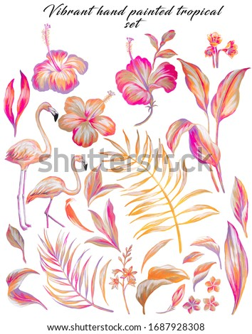 Hand painted with gouache tropical flora with leaves and flowers and flamingo in pink, beige and orange colors. Set with isolated drawings of plants and birds, botanical, decorative. Hibiscus.