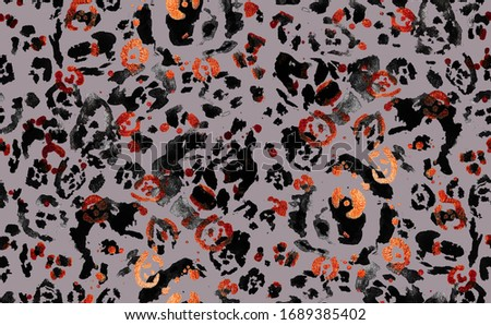 Hand Painting Abstract Watercolor Leopard Cheetah Jaguar Animal Skin Shapes with Foil Texture Repeating Pattern Isolated Background