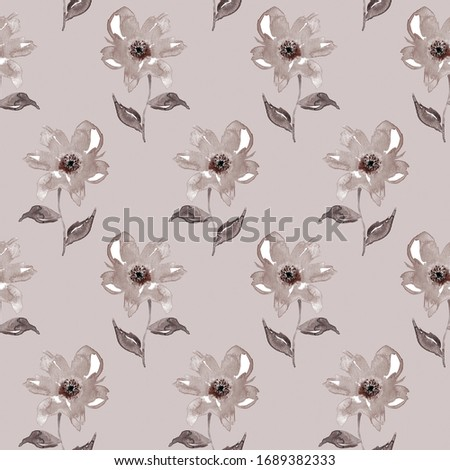 Hand Painting Abstract Watercolor Peony Flowers and Leaves Tile Repeating Pattern Isolated Background
