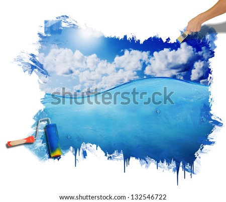 Hand painting Image of beautiful blue sunny sky with clouds reflected in the water