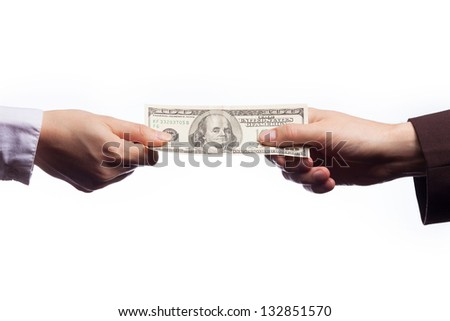 hand passes the 100 dollars on white