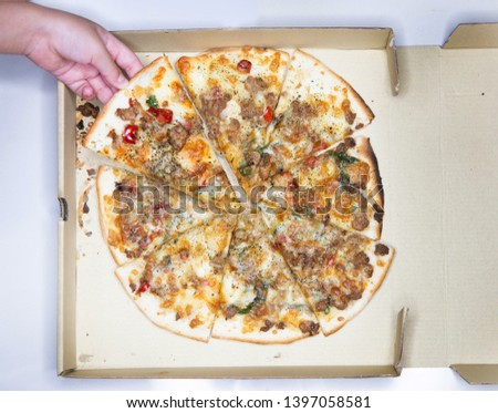 hand pick fusion food homemade crispy pizza with pork grill and Thai chilli #1397058581