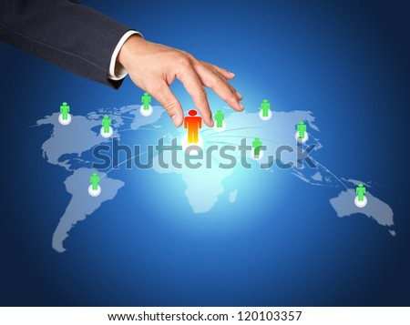 Hand pick red man of Social Network structure