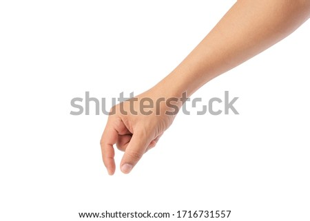 hand pick some like object isolated on a white background, with clipping path, manicured hand, concept the selection, pick up things Foto d'archivio ©