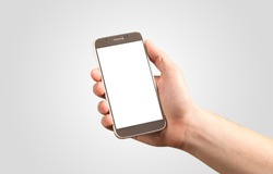 Hand picking smartphone empty display on white background isolated.