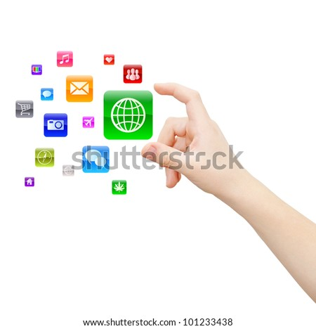 Hand picks up one of abstract applications, isolated on white, clipping path