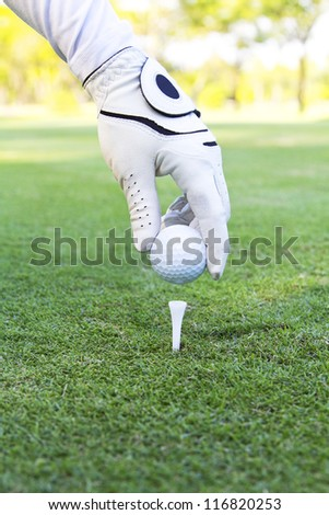 Hand placing golf ball on tee