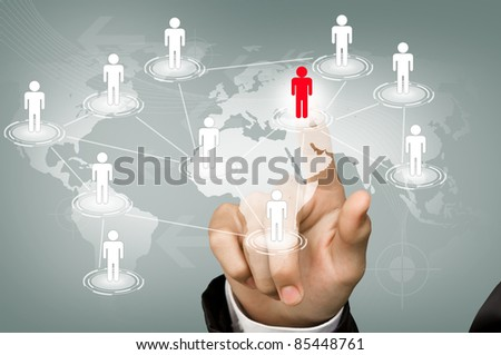 Hand point red man of Social Network