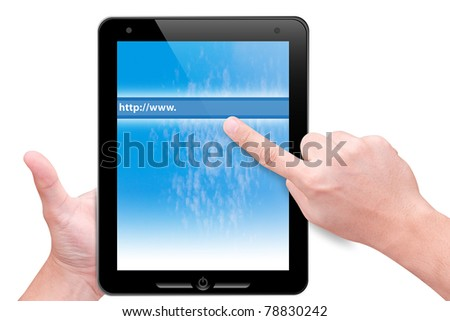 hand point to web link bar from touch pad isolated