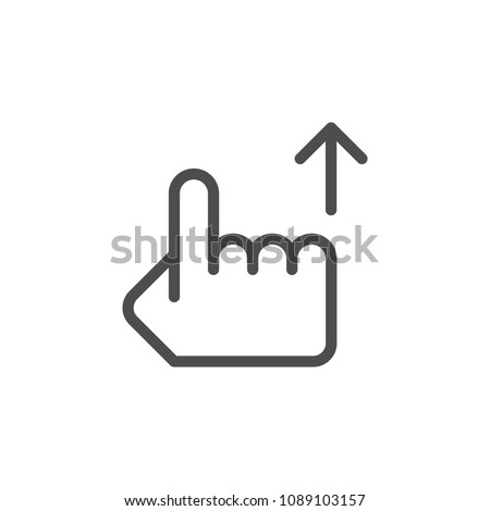 Hand pointer line icon isolated on white