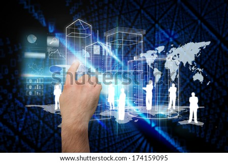Hand pointing against futuristic black background with binary code #174159095