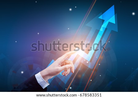 Hand pointing at abstract upward digital chart arrow on blue background. Finance concept. 3D Rendering