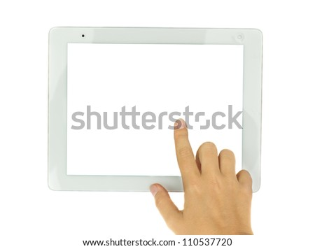 hand pointing at modern tablet PC isolated on white background with copy space