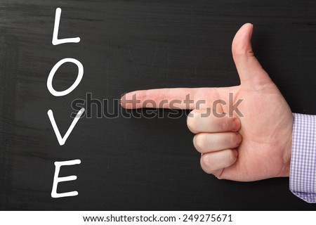 Hand pointing at the word LOVE written on a blackboard