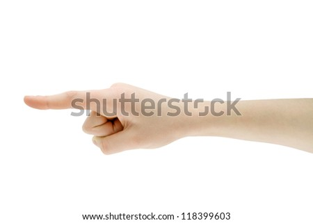 hand pointing direction isolated on white - stock photo