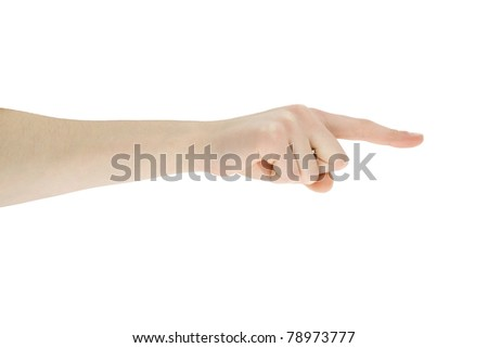 hand pointing direction isolated on white