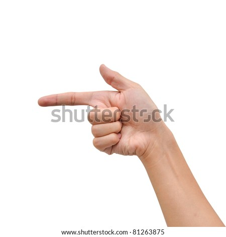 Hand pointing direction isolated on white background