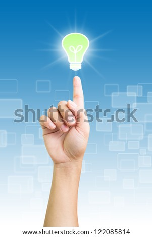 Hand Pointing Green Light,Inspire by Business Concepts and Ideas