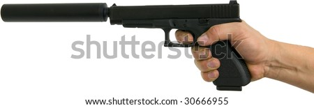 hand pointing gun with silencer isolated on white