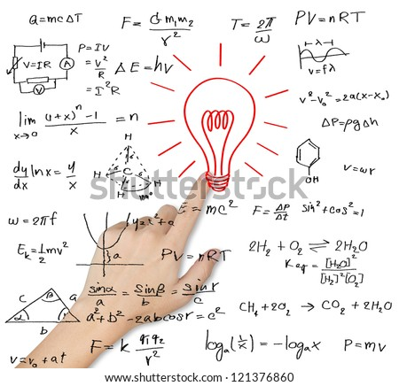 hand pointing idea lightbulb with various maths and science formula