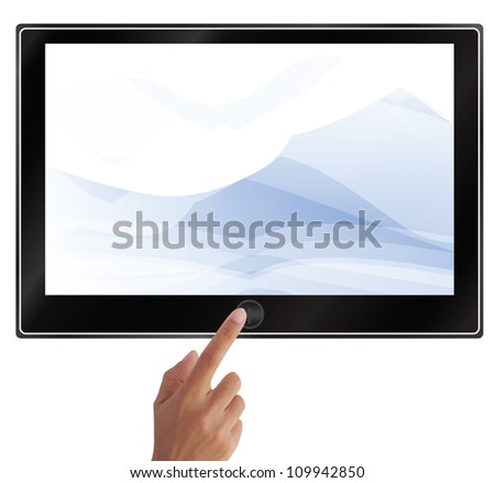 hand pointing on touch screen tablet or pc isolated on white