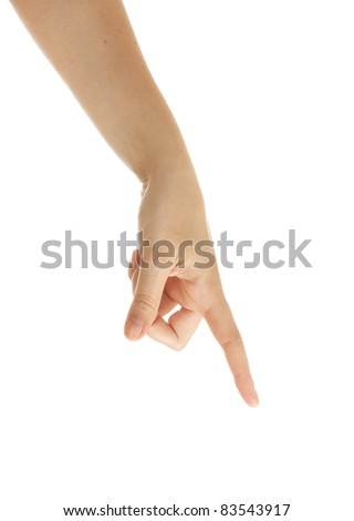Hand pointing, pressing  or touching  isolated on white.