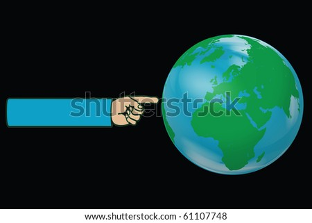 Hand pointing the Earth Globe Illustration