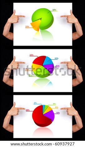 hand pointing to dimensional chart collection, isolated