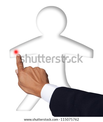 hand pointing to human body part
