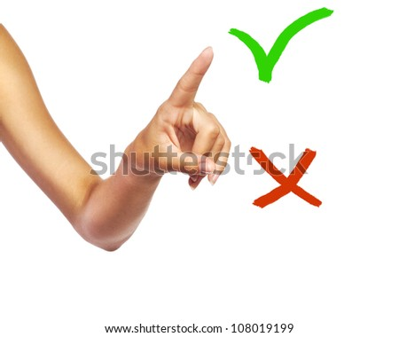Hand pointing, touching, choosing or pressing