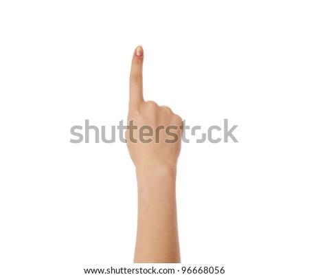 Hand pointing, touching or pressing isolated on white.