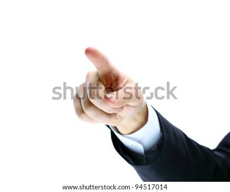 Hand pointing, touching or pressing isolated on white. Caucasian male.