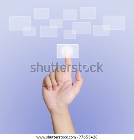 Hand pointing, touching or pressing on purple background