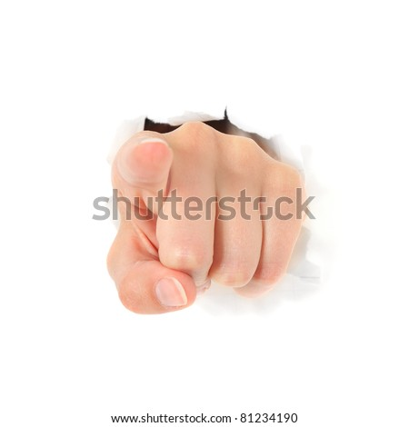 Hand pointing with finger out of torn hole in white wall. All on white background.