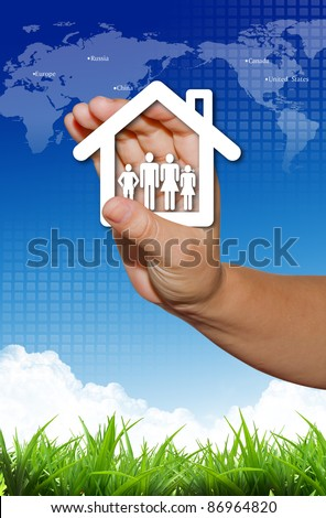 Hand present your home and family symbol