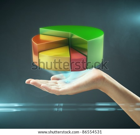 Hand presenting a pie chart button. On a black background