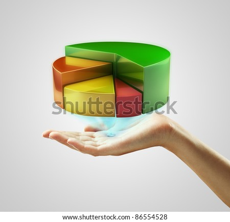 Hand presenting a pie chart button. On a gray background