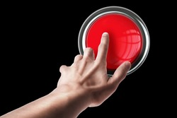 hand press on big Red button isolated on black background